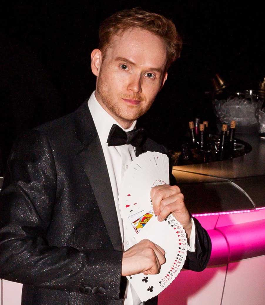 Party magician James Pritchard